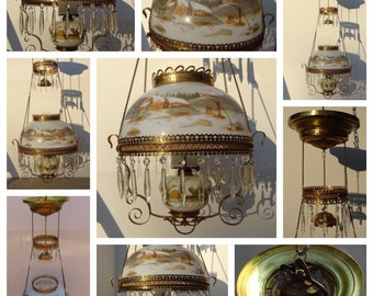 Antique Victorian Hand Painted with Crystal Prisms Hanging Oil Lamp