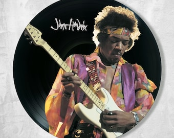 Jimi Hendrix vinyl record wall decor painted, wall decor Jimi Hendrix, Best Gift for music lover