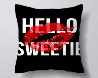Hello Sweetie typography kiss   - Cushion Cover Case Or Stuffed With Insert