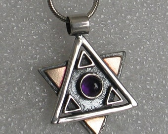 """Star of David Necklace Mixed Metal with Amethyst 2 sided 1"""""""