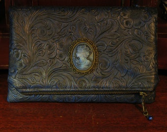 Gothic Clutch Bag with Victorian Cameo  -- Courtyard Companion