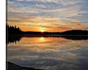 Large Nature Canvas, Colorful Reflection, Oversized Photo Canvas, Sunrise Photography, Boundary Waters, Woodland Picture, Original Art