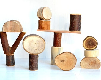 Wood toy, 15 natural tree building blocks, Wooden blocks, Wood organic toy, Personalized wooden toy, Montessori and waldorf inspired blocks