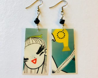 Fun Print Recycled Magazine Earrings