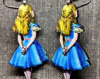 Alice in Wonderland Earrings / Handmade Wood Earrings / Handmade Jewelry / Alice Earrings / Wonderland Earrings / Fantasy Earrings