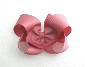 "Mauve Hair Bow, Large Hair Bow, 5"" Hair Bow, Toddler Bow, Girls Hair Bow, Mauve Boutique Bow, Hair Bow Clip, Mauve Boutique Bow"