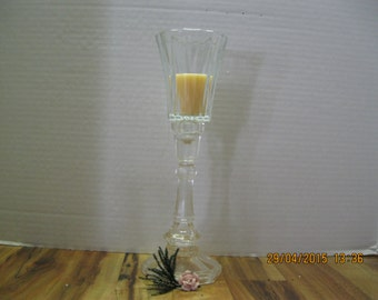 Vintage Single tall glass candle stick