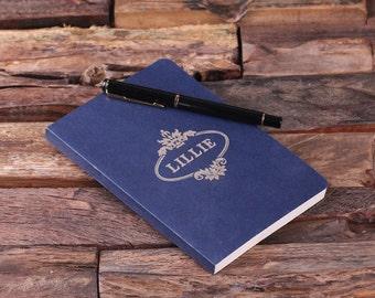 Blue Personalized Custom Portfolio Journal Notebook (024441)