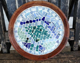 Blues and greens abstract glass mosaic serving tray