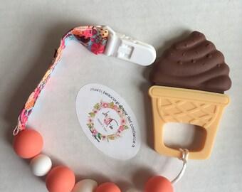 Chocolate ice cream teether clip