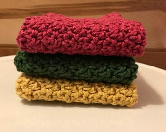 Set of three crocheted dish cloths