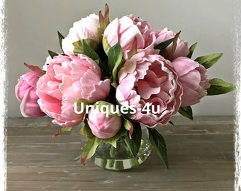 Real Touch Pink Peonies in acrylic water