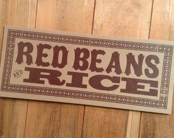 letterpress sign RED BEANS and RICE poster Brown Louisiana kitchen decor gifts for chefs breakfast art restaurant diner art print