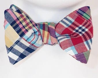 Madras Plaid Butterfly Bow Tie