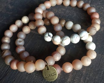 Mala Bracelets, Mala Bracelet Set - Choose your Word Wrist Mala. Handmade, Bracelet, Mala Beads, Meditation Jewelry, Wrist Mala