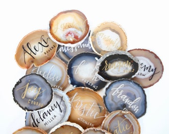 Agate Slice Calligraphy Place Cards