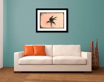 Palm Tree Photography, Fine Art Print, Coastal Decor, Beach Art, Sepia Wall Art, Minimalist, Palm Tree Print, Black+White Decor, Palm Print