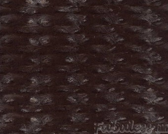 Brown Rose Bud Minky fabric per yard
