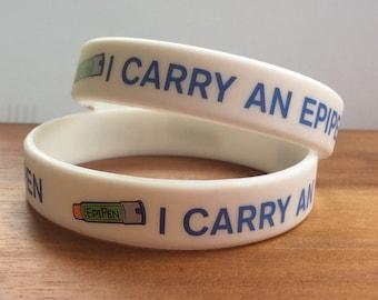 Allergy medical bracelets, allergy ID bracelet, medical alert bracelet, kids allergy bracelet, epipen silicone bracelet