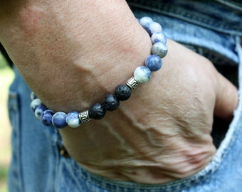 Sodalite Bracelet - Lava Bracelet - Mens Essential Oil Bracelet - Diffuser Bracelet - Beaded Healing Gemstone Stretch Bracelet - Unisex