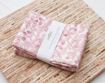Large Cloth Napkins - Set of 4 - (N4381) - Red Raspberry Vine Modern Reusable Fabric Napkins