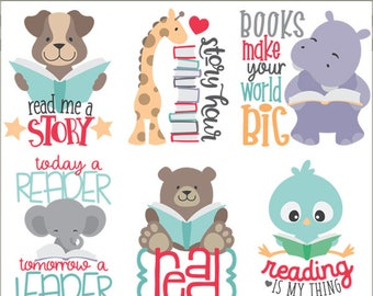 Animals Reading Clipart -Personal and Limited Commercial Use- cute animals with books, and positive reading quotes for kids