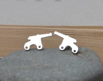 Cannon Earring Studs In Sterling Silver, Handmade Cannon Earring Studs, Handmade In England