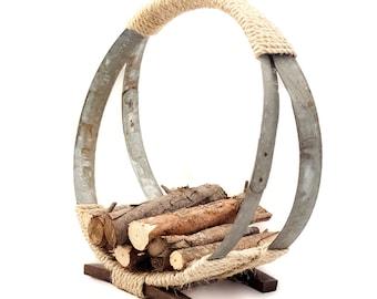 Reclaimed Barrel Hoop Firewood Rack