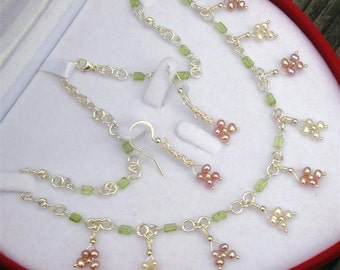 """FORGET PARIS Bridal Collection- myBouquet Beaded Floral Design - Pearl, Peridot, Sterling Silver Necklace & Earrings """"Handmade by DORANA"""""""