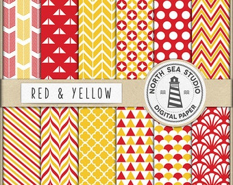 Red And Yellow Digital Paper Pack | Scrapbook Paper | Printable Backgrounds | 12 JPG, 300dpi Files | BUY5FOR8
