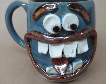 Cheat Day Face Mug. Diet Breakers Coffee Cup Mugs. Nelson Studio Stoneware Pottery Big 20 Oz Handmade Ug Chug Mug. Blue Clay Pottery Mug