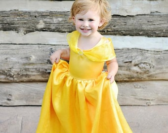 Girls Gold Princess Belle Costume Gown, beauty and beast, yellow, pretend play, ballgown, dress-up, halloween, birthday, cute christmas gift
