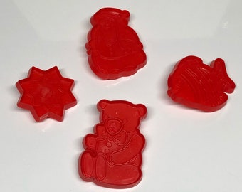 Hutzler Red Plastic Cookie Cutters Set  1986