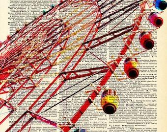 Vintage Book Art Print - Ferris Wheel - Upcycled Antique Book Print - Vintage Carnival Circus Art
