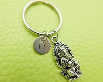 Ganesha Hindu God of Success stainless steel Keyring initial keychain