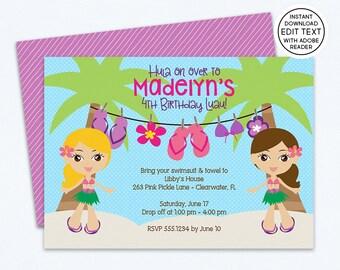 Hawaiian Invitations | Hawaiian Party | Hawaiian Birthday Invitations | Tiki Invitations | Tropical Invitations | Luau Invitation | 263