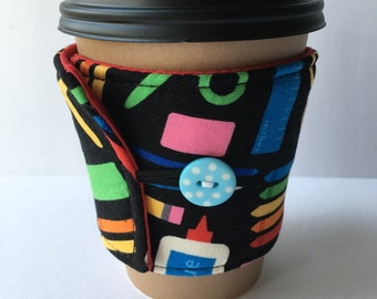 Coffee Cozy- Back To School Essentials Coffee Cup Sleeve- Reusable Coffee Sleeve- Teacher Gift