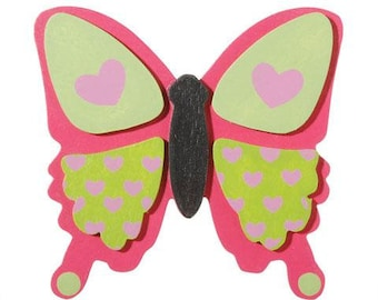 Wood - Painted Wood Plaque - Ready to Complete your Craft Project - Pink Butterfly - Layered