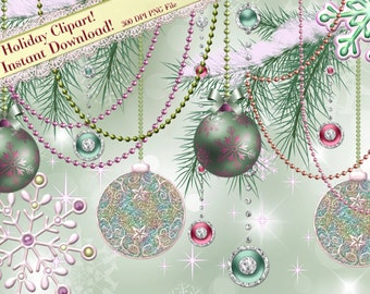 Christmas Clipart, Holiday Clipart, Pink Snowflake, Pastel Christmas