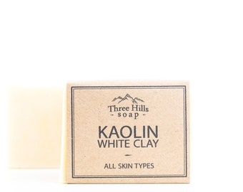 Kaolin White Clay Soap - All Skin Types,Unscented Soap, Natural Soap, Handmade, Vegan Soap, Palm Free Soap, Clay Soap, Cold Process Soap