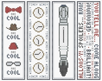 Doctor Who Bookmarks (Series One) - Set of Four Original Cross Stitch Charts | Inspired by Doctor Who