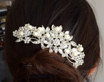 Pearl Bridal Comb, Floral Wedding Comb, Bridal Hair Comb, Wedding Hair Accessory, Crystal Hair Comb, Pearl Comb, Bridal Headpiece - Lovely