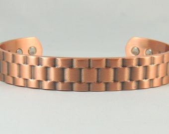A Basket Weave Heavy Copper Magnetic Bangle