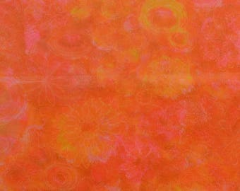 Vintage Voile Fabric, Polyester Voile, Retro Fabric, Sheer Fabric, Vintage Fabric, Orange Floral Fabric - 1 1/8 Yard - SF2547A