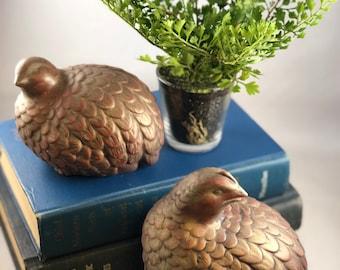 Pair of Vintage Ceramic Quail Birds