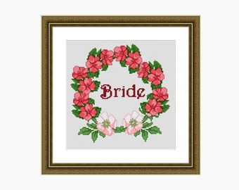 Cross stitch pattern, Modern Cross Stitch, 'BRIDE' cross stitch chart - Instant download PDF