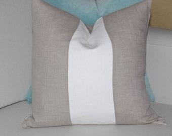 100% Linen Color Block Pillow