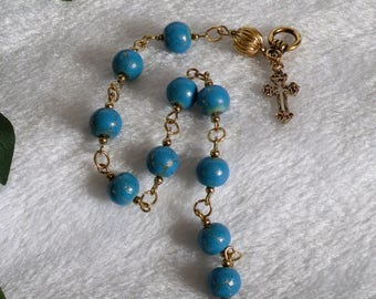 Gold and Turquoise Rosary Bracelet  B-133