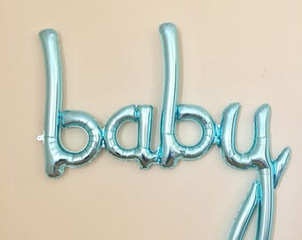 Baby Blue Script Balloon~Blue Baby Banner~Blue Baby Shower~Blue Baby Announcement~Blue Baby Shower~Baby Boy Banner~Boy Baby Shower