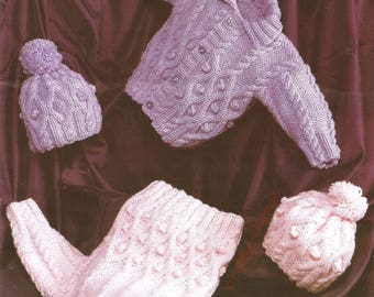 baby childrens sweater jacket and hat chunky knitting pattern 99p pdf